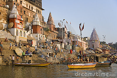 Hindu Ghats - River Ganges - Varanasi -India Editorial Stock Image