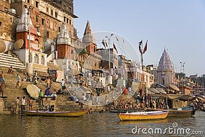 Hindu Ghats - River Ganges - Varanasi - India Editorial Stock Image