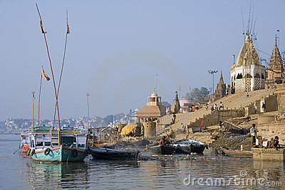 Hindu Ghats - River Ganges - Varanasi -India Editorial Photography