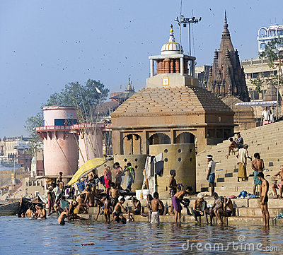 Hindu Ghats - Varanasi in India Editorial Stock Photo