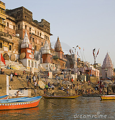 Hindu Ghats - Varanasi - India Editorial Photography