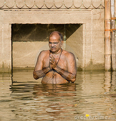 Hindu Ghats - Varanasi - India Editorial Stock Photo