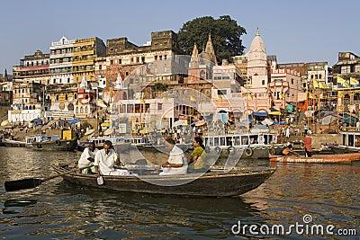 Hindu Ghats - Varanasi - India Editorial Stock Photo