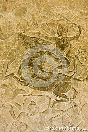 Hindu God riding Horse in battle