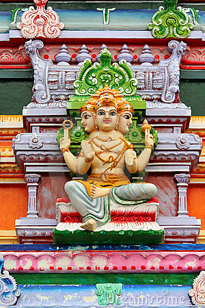 Hindu god statue on temple