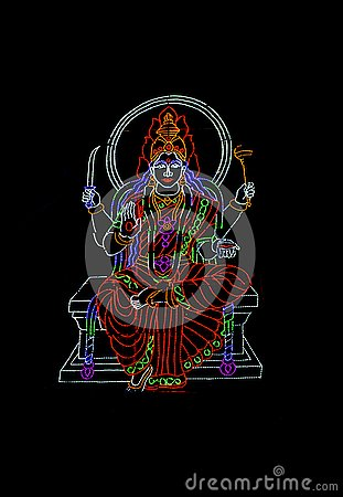 Free Hindu Goddess Displayed In Series Of Colourful LED Lights Royalty Free Stock Images - 137070179