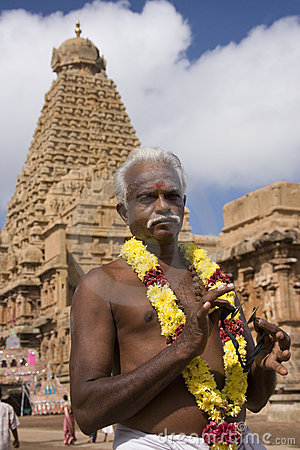 Hindu man at Brihadishvara Temple - Thanjavur Editorial Photography