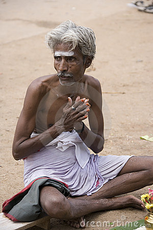 Hindu man in contemplation - India Editorial Photo