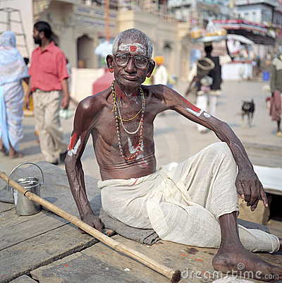 Hindu man on ghats in Varanasi, India Editorial Photo