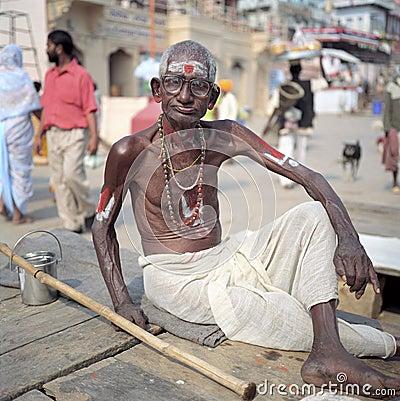 Varanasi, India, Hindu man on the ghats Editorial Photo