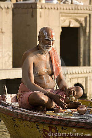 Hindu man in religious contemplation - India Editorial Stock Image