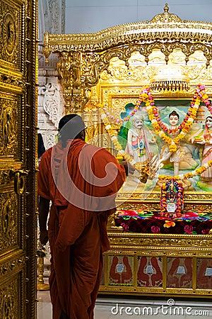 Hindu monk worshipping Editorial Image