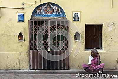 Hindu Pilgrim in Madurai Editorial Stock Photo