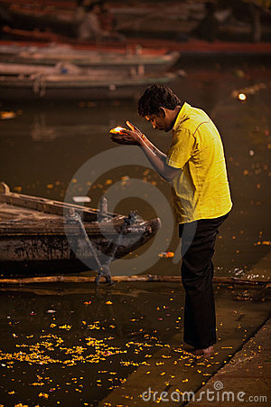 Hindu pilgrim in Varanasi Editorial Stock Photo