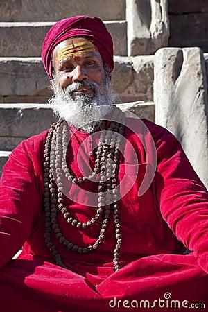 Hindu Priest, Patan, Nepal Editorial Photo