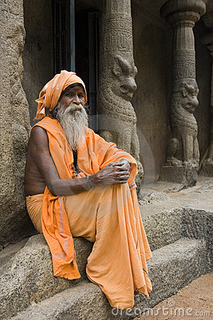 Hindu Sadhu - Mamallapuram - India Editorial Stock Photo