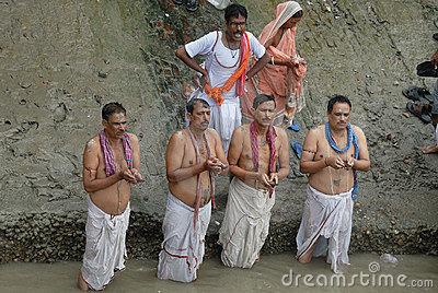 Hindu Tarpan rituals Editorial Stock Image