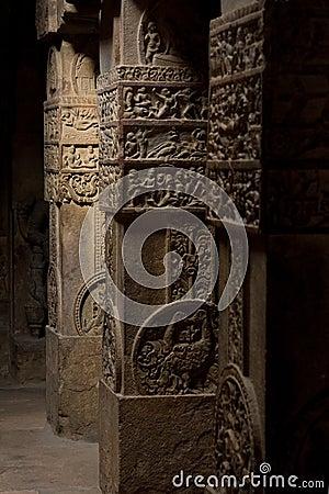 Hindu temple columns