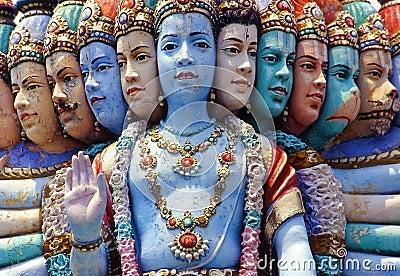 Hindu temple, multiple face statue, Singapore
