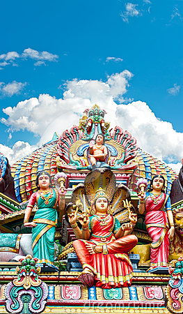 Hindu temple in Singapore over beautiful blue sky