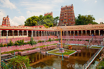 Hindu temple tower and tank