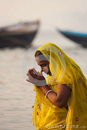 Hindu Woman Bowing Praying Ganges River Varanasi Editorial Photography
