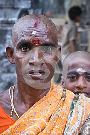 Hindu woman with shaven head Editorial Photo