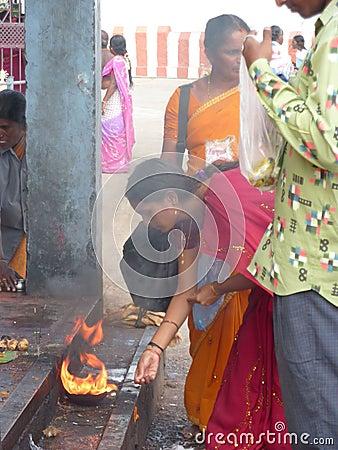 Hindu women make puja offering Editorial Stock Image