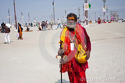 Hindu worshiper on the Kumbh Mela Editorial Photography