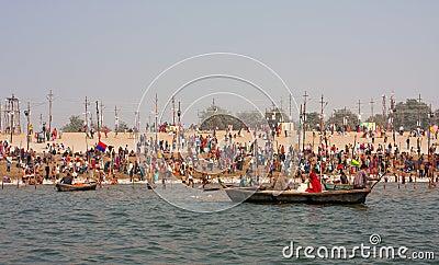 Hindu worshipers bathe during the Kumbh Mela Editorial Photography