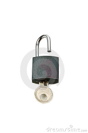 The hinged lock with a key