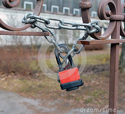 The hinged mechanical lock on a chain
