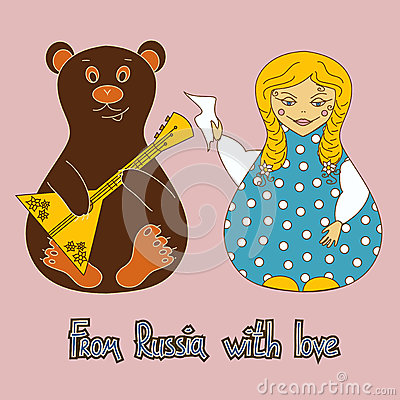 Hintergrund mit russischer Puppe und Bären