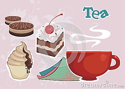 Hintergrund mit Tasse Kaffee oder Tee und süßes DES