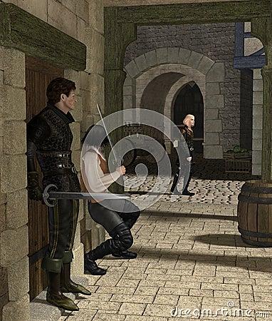 Hinterhalt in einer mittelalterlichen Gasse