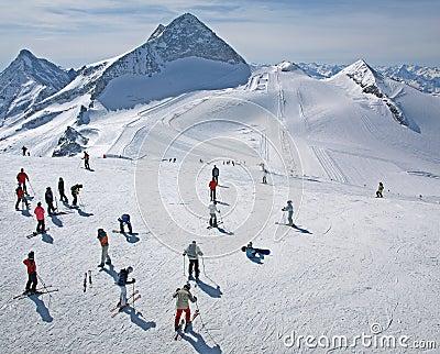 Hintertux glacier ski area in the Austrian Alps Editorial Stock Photo