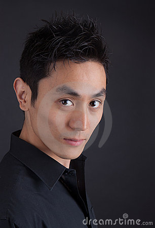 Free Hip Asian Man In Black Portrait Royalty Free Stock Photos - 20297678