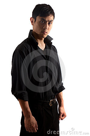 Free Hip Asian Man In Black Portrait Stock Photography - 20357372