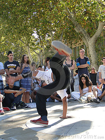 Hip-Hop breakdancers compete in pairs, Editorial Photo