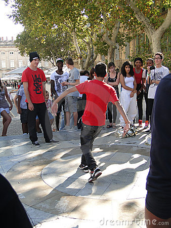 Hip-Hop breakdancers compete in pairs, Editorial Stock Photo