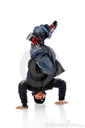 Hip Hop Dancer On Head Stand
