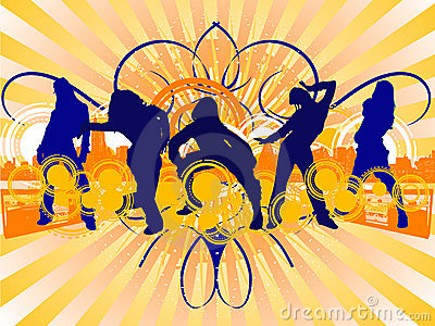 Hip-Hop Dancing Girls Silhouet