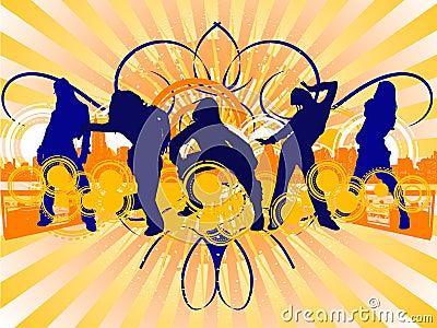 Hip-Hop Dancing Girls Silhouet