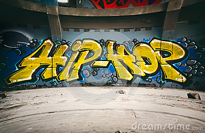 Graffiti wall with Hip Hop, urban art.