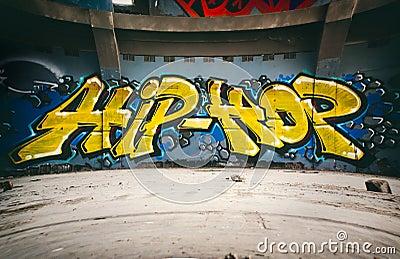 Graffiti Wall With Hip Hop Urban Art