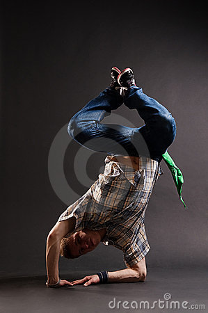 Hip-hop guy standing on his elbow