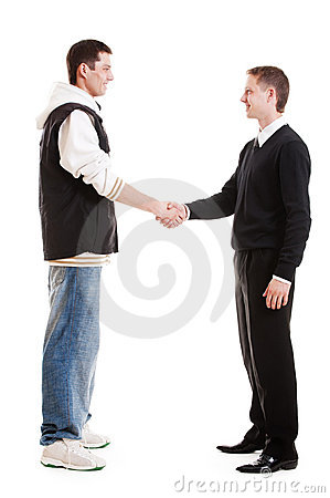 Hip-hop man greeting with businessman