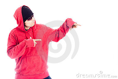 Hip Hop man in red hoody pointing