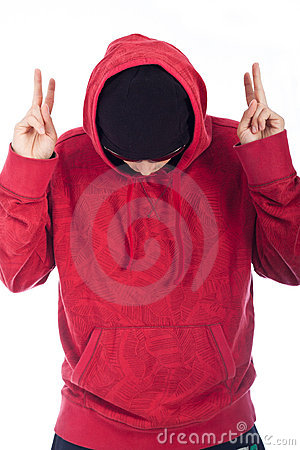 Hip Hop man in red hoody posing