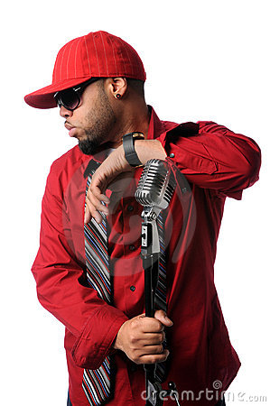 Hip Hop Man With Vintage Microphone